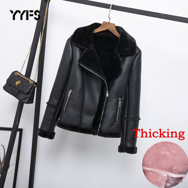 Women Faux Shearling Sheepskin Coats Thick Warm PU Faux Lamb   Leather   Jacket 2019 New Winter Black Motorcycle Female Overcoat