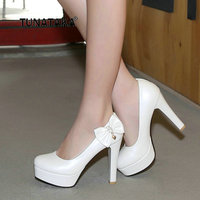 Women Platform Thick High Heel Pumps Fashion Sweet Bow Knot Crystal Dress Lazy Shoes Blue Pink White