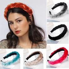 3/4.5CM Solid Thick Velvet Braid Headband Twist Hairband for Women Ladies Wide Pearl Hair Hoop Jewelry Accessories
