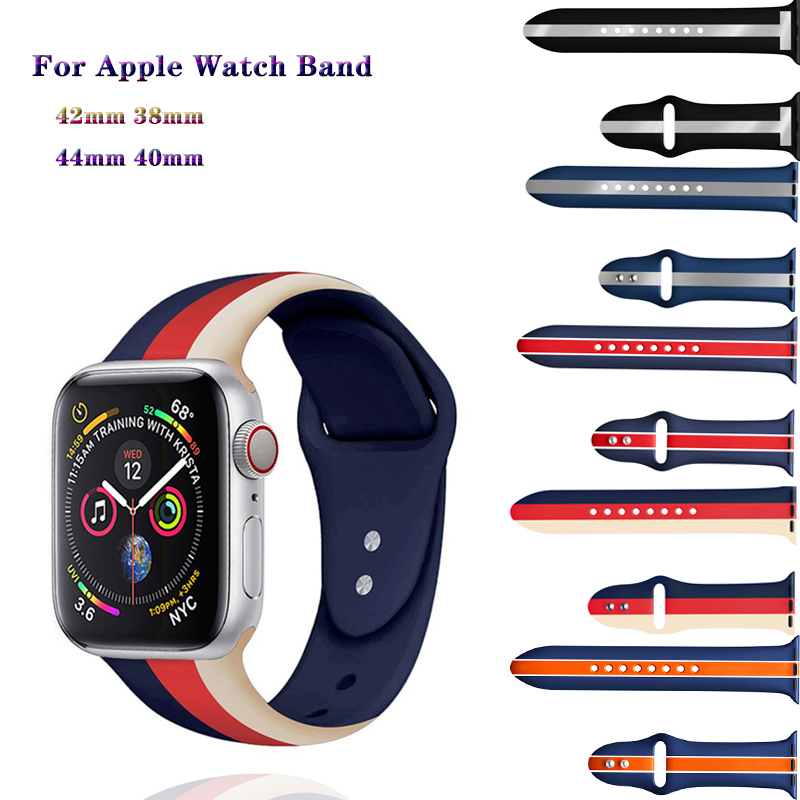 Soft Silicone Stripe Sport Bracelet Strap For Apple Watch Band 44/40/42/38mm Compatible For IWatch Series 4 3 2 1 Band Accessory