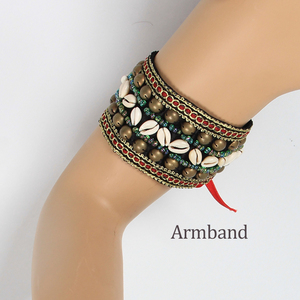 Image 3 - 2019 2 Pieces Set Tribal Belly Dance Costume Accessories Bronze Beads Wristband & Armband Adjustable Fit Gypsy Jewelry Bracelets