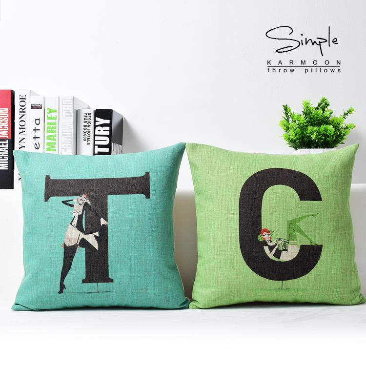 korean creative alphabet pillow t c letter lovers cushion linen pillowcaseoffice decor home