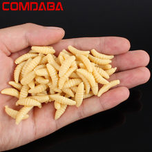 50pcs 2cm 0.3g Smell hand pole bait fishing lure soft bread bug bionic grubs trout lure soft bait hot fishing Free shipping(China)