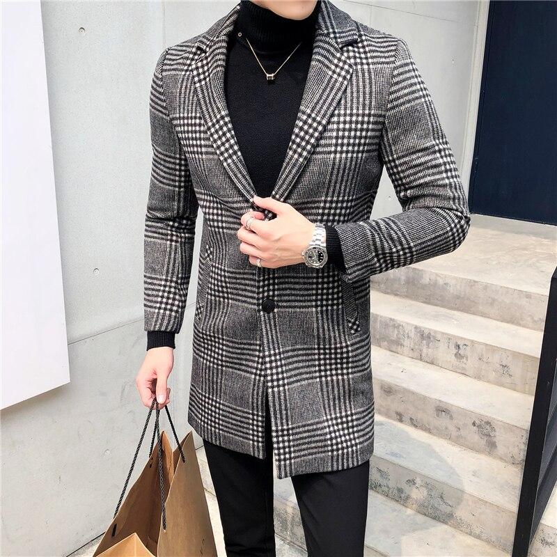 Men's Wool Coat England Middle Long Coats Jackets Slim Fit Male Autumn Winter Overcoat Woolen Coat Gray Black Plaid Smart Casual - 2