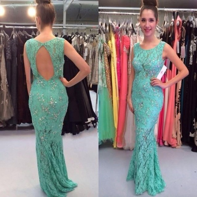 1fb7fba5b4e6 Sexy Open Back Lace Mermaid Prom Dresses Mint Green Prom Dress Women Special  Occasion Attire Imported China