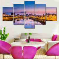 5 Panels Beautiful City Night Modern Landscape Canvas Painting Nightscape Wall Picture Home Decoration Painting For