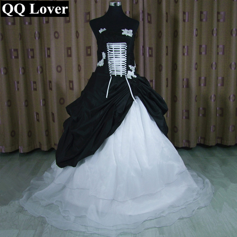 qq lover 2017 new black and white contrast color design wedding dress lace flowers vestido de