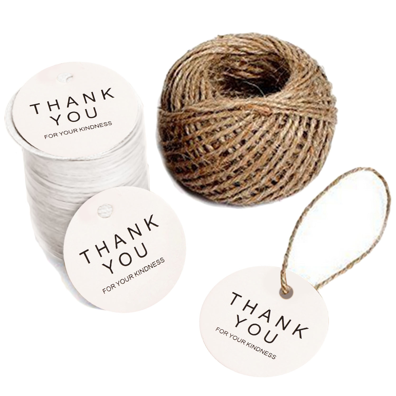 100 Pcs Round Shape Thank You Kraft Paper Tag Diy Wedding Party Blessing Greeting Card Label Gift Favor Tags With 30M Jute Twine White Intl ใหม่ล่าสุด