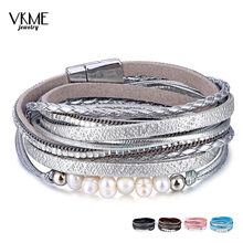 VKME Drop shipping bracelet woman bracelet statement 2019 female bracelet multi-layer leather pearl pendant jewelry gift(China)