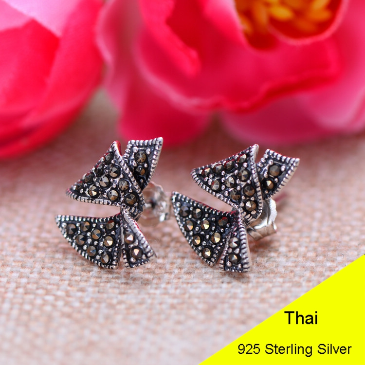 925 Sterling Silver Bowknot Rosette Stud Earring with Marcasite Women Thai Silver Bow Knot Gift Brincos Aretes Jewelry CH025885 hot brand pure 925 sterling silver jewelry for women gifts bowknot earring 5a cubic zirconia bowknot stud earring party jewelry