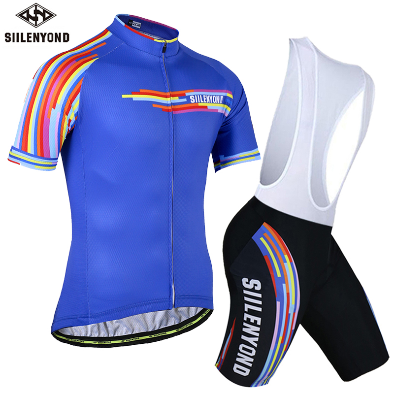 SIILENYOND Short Cycling Jerseys Summer Ropa De Ciclismo Raiders MTB Mans Pro Cycling Clothing Sets Completo Ciclismo Bib suits