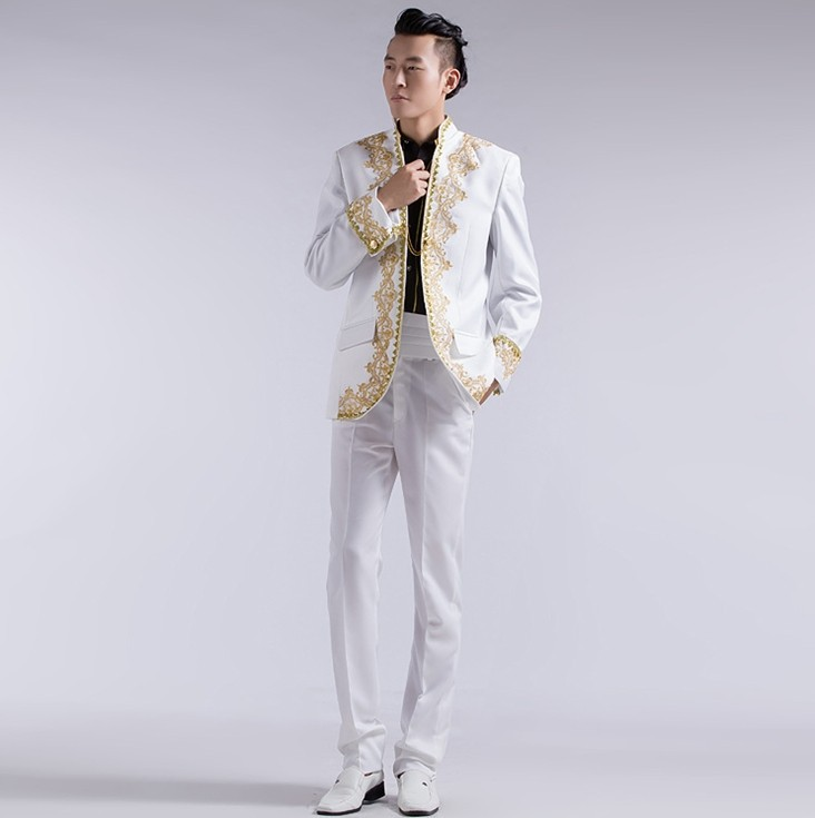 b50f120389 Chinese wedding groom tuxedo suits gold embroidery applique white men white  men suit men suits for wedding men gold suits NX46-in Suits from Men's  Clothing ...
