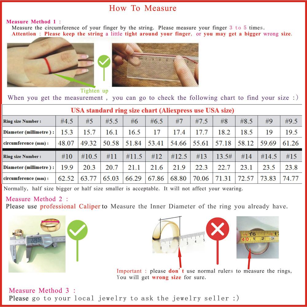 USA wedding rings chart and measure method 20160511