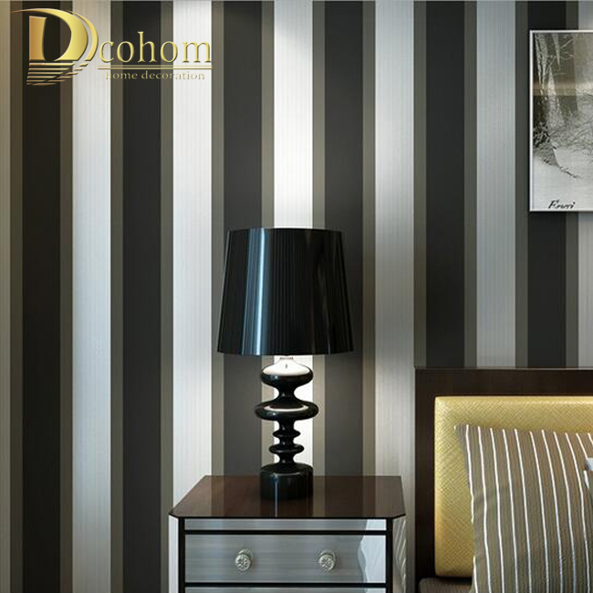 Buy Fashion Luxury Striped Wallpaper Living Room Beroom Walls Decor Black Grey