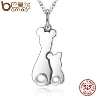 BAMOER Trendy 100 925 Sterling Silver Freshwater Pearl Deer Love Pendant Necklaces Fine Silver Jewelry Gift