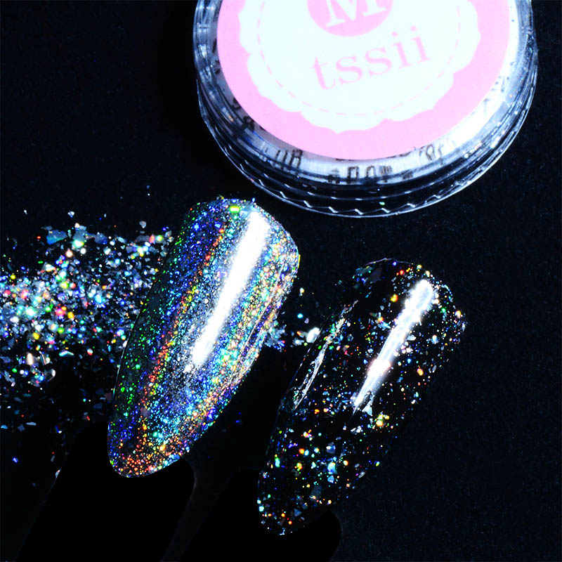 Mtssii 0.2g/box Galaxy Holo Nail Flakes Bling Rainbow Laser Nail Art Sequins Holographic Glitter Powder Paillettes