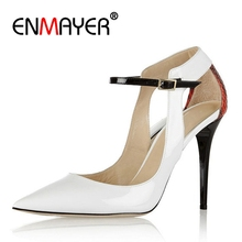 ENMAYER Original Intention Fashion Women Pumps Pointed Toe Thin High Heels Pumps Elegant White Shoes Woman Big Size 4-10.5 CR176 цена в Москве и Питере