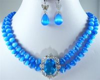 Charming Lady'S 2 Rows 8mm Blue Jades Necklace Pendant Earrings Set