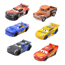 1:55 Disney Pixar Cars 3 Storm Jackson Lighting McQueen Daniel Swervez Cruz Ramirez Smokey TIM Treadless Metal Car Toys Boy Gift(China)