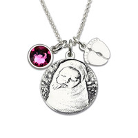 Custom Baby Photo Necklace 925 Silver Necklace Engrave Name with Birthstone Heart Pendant Necklace For Mom Gift#SS40