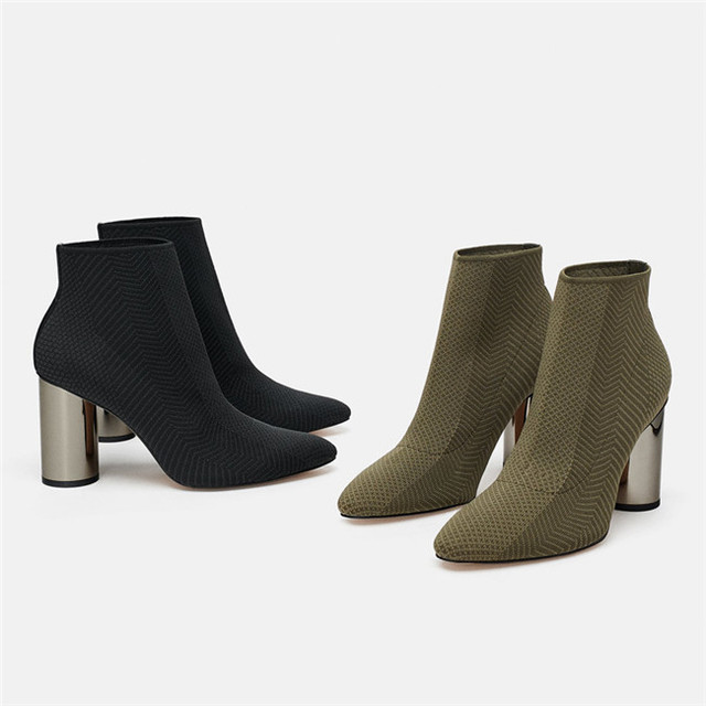 MONMOIRA Stretch Knitting High Heel Sock Boots Women Sexy Pointed Toe Ankle  Boots for Women Deep Green Short Women Boots SWE0394 ba17325a1dec