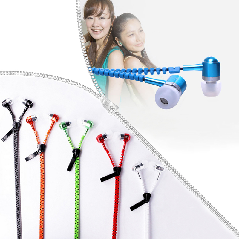 Zipper Earphones Stereo Sound Audio Headset with Mic 3.5mm In-Ear Earbuds Zip Earphone For Mobile Phone MP3 MP4 Music Players ufo pro metal in ear earphones treadmill female drug sing karaoke audio headset diy mobile phone
