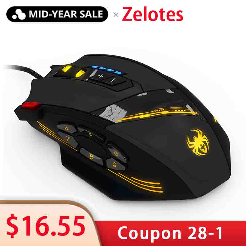 ZELOTES C-12 Wired USB Optical Gaming Mouse 12 Programmable Buttons Computer Game Mice 4 Adjustable DPI 7 LED Lights