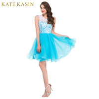 2017 Nova Alta Pescoço Bordado Elegantes Vestidos de Noite Curtos 2017 Verde Preto Branco Roxo Azul Rosa Colorido Rendas Vestidos de 6123