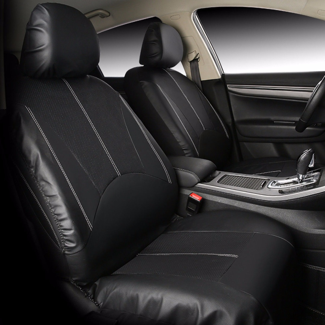 9PCS/Set PU Leather Black Car Full Front Rear Seat Cover Cushion Mat Car Styling Interior Accessories Protector цена