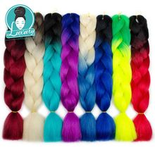 Luxury For Braiding Ombre  Jumbo Synthetic Hair Crochet Blonde Pink Blue Grey Extensions Braids