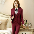 Notched Collar Ladies Formal Pant Suit For Wedding Office Uniform Designs Women Business Suits Red Blazer For work