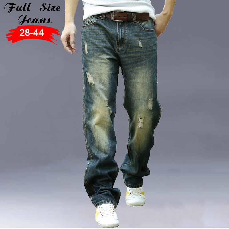 ФОТО New Designer Plus Size Wide Leg Jeans Men 5Xl 6Xl 7Xl 8Xl Big Size Vintage Retro Loose Ripped Denim Jeans Casual Pants 46 48 44
