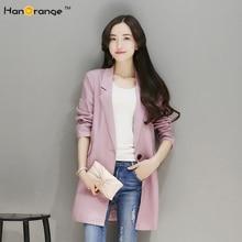 HanOrange Fashion Large Lapel Single Button Linen Suit Women Blazer Jacket Spring Autumn Wine Red/Jeans Blue/Khaki/Lotus Pink