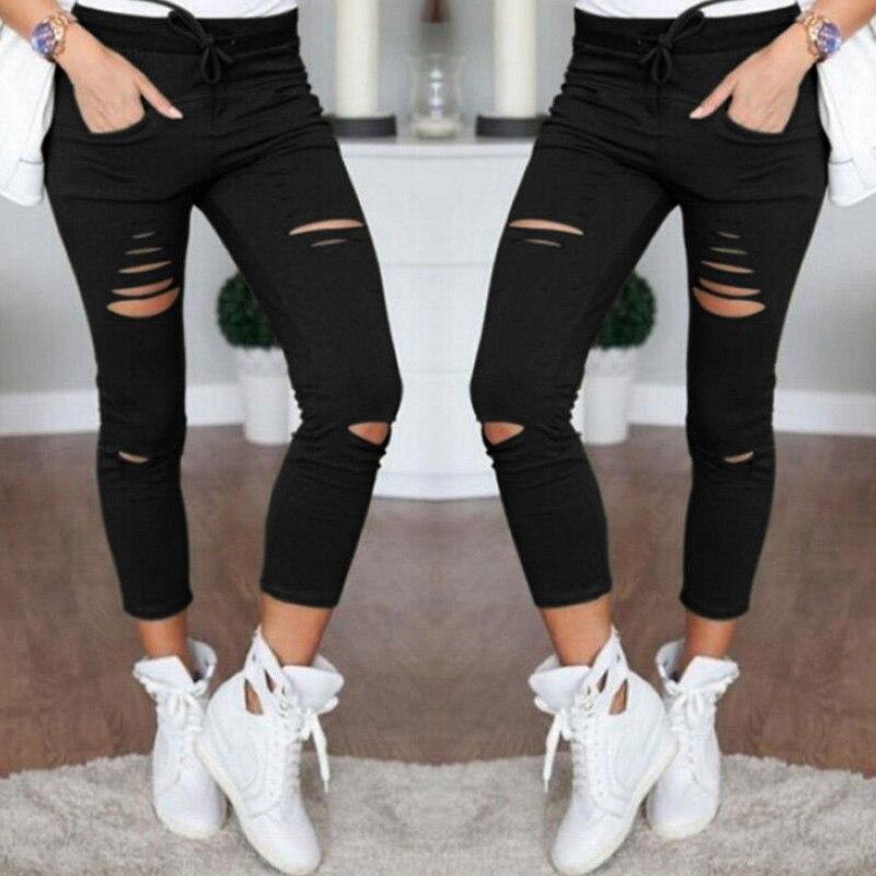 2019 Summer Skinny Fashion Pocket Pencil Pant High Waist Pants Women Trousers Leggings Hole Sweatpants Stretch Jeans Plus Size