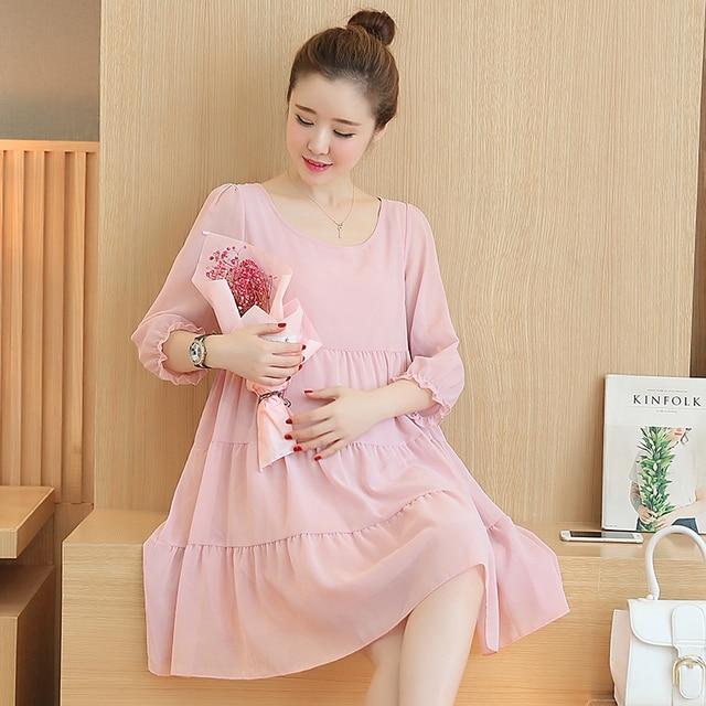 Pengpious 2019 Pregnant Women Chiffon Dress Korea Maternity Clothes