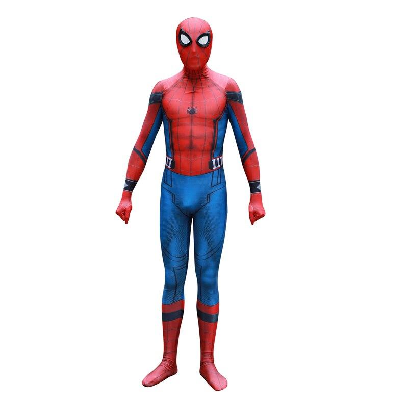 New Spider-Man Homecoming Spiderman Cosplay Costume 3D Print Zentai Spiderman Pattern Bodysuit Suit Jumpsuits Adult Men Kids