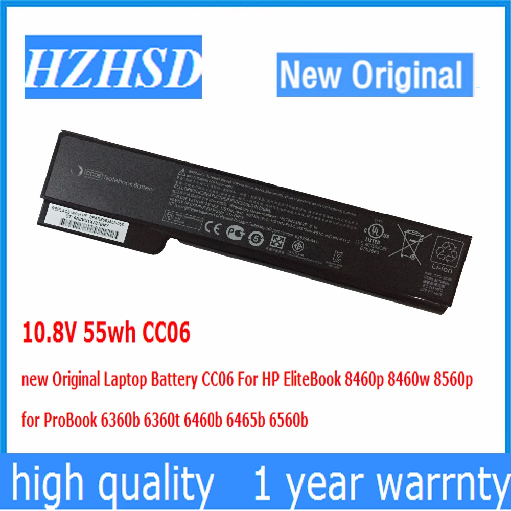 10.8V 55wh CC06 new Original Laptop Battery For HP EliteBook 8460p 8460w 8560p for ProBook 6360b 6360t 6460b 6465b 6560b