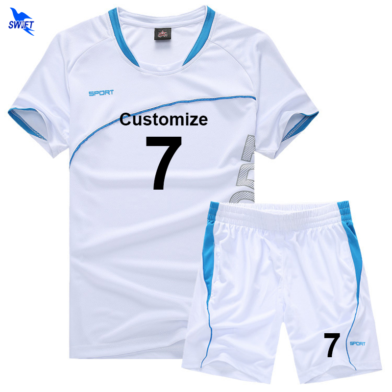 Mens Boys Football Jersey Suit team sport training soccer jersey set kids custom name number logo breathable short sleeve kits