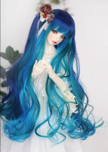 New BJD 1/3 22-24cm 1/4 17.5-18.5cm 1/6 15.5-16.5cm BJD.SD MSD Dollfie Doll Blue Green mix wavy wig