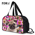 Forudesigns moda bolsas de viaje de las mujeres animal pug dog print equipaje bolsa mujeres bolsas de hombro bolsas de viaje de gran capacidad de la lona