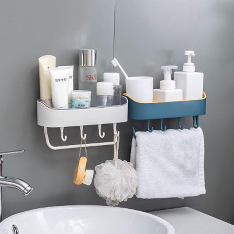 Bathroom Storage Shelf Rack With Hooks