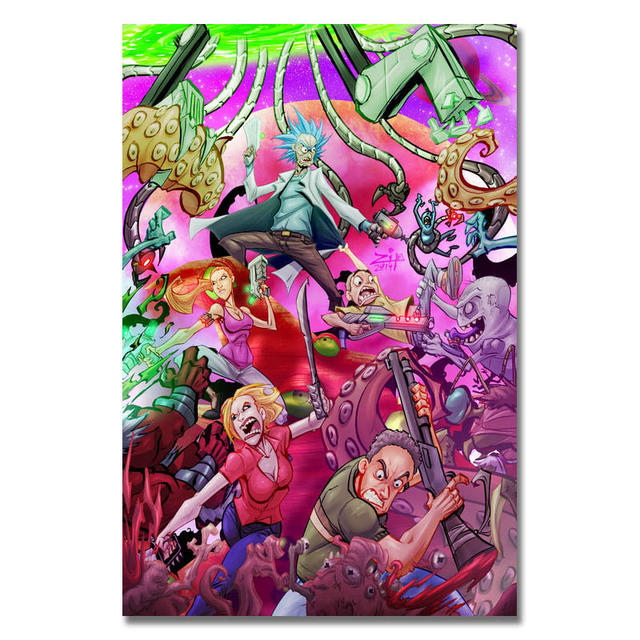 Rick And Morty Art Silk Poster Or Canvas Poster 32×48 13x20inch Cartoon Picture For Living Room Decor-002