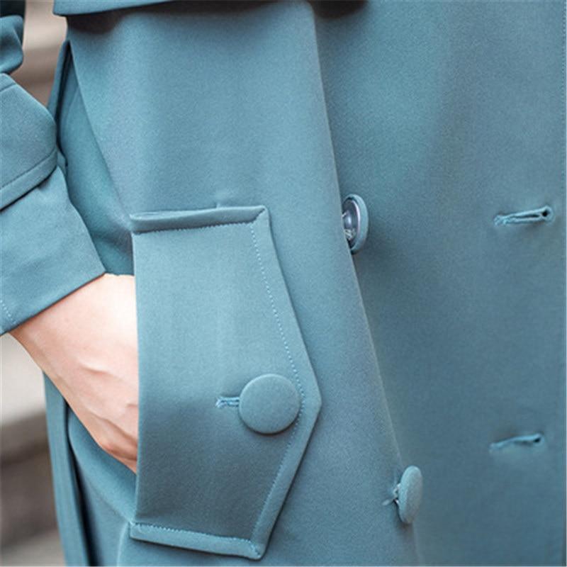 Femmes Navy Coréenne Longue Couleur Double Tempérament Pur Dames Coupe Trench Survêtement Printemps X0372 Boutonnage vent Section À Coat Blue Automne 5xpq5Uf