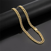 Iced Out Bling Rhinestone CZ Rapper Crystal Necklace Goldgen Finish Miami Cuban Link Chain For Men's Hip hop Necklace Jewelry