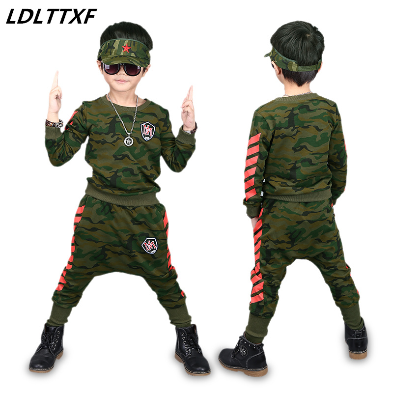 2018 Camouflage Clothing Set Boys Long Sleeve Military Uniform 2 Pcs Kids Spliced Sport Suit Tracksuit Harem Pants Kids Hip Hop children clothing set kids tracksuit sports suit boy girls fashion camouflage hoodies harem pants kids hip hop clothes