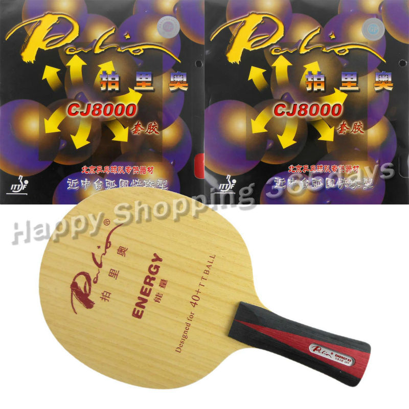 Pro Table Tennis PingPong Combo Racket Palio ENERGY 03 Blade with 2x CJ8000 H38-41 Rubbers Shakehand long handle FL lkt will power l 1007 arylate carbon table tennis blade shakehand for pingpong racket shakehand long handle fl