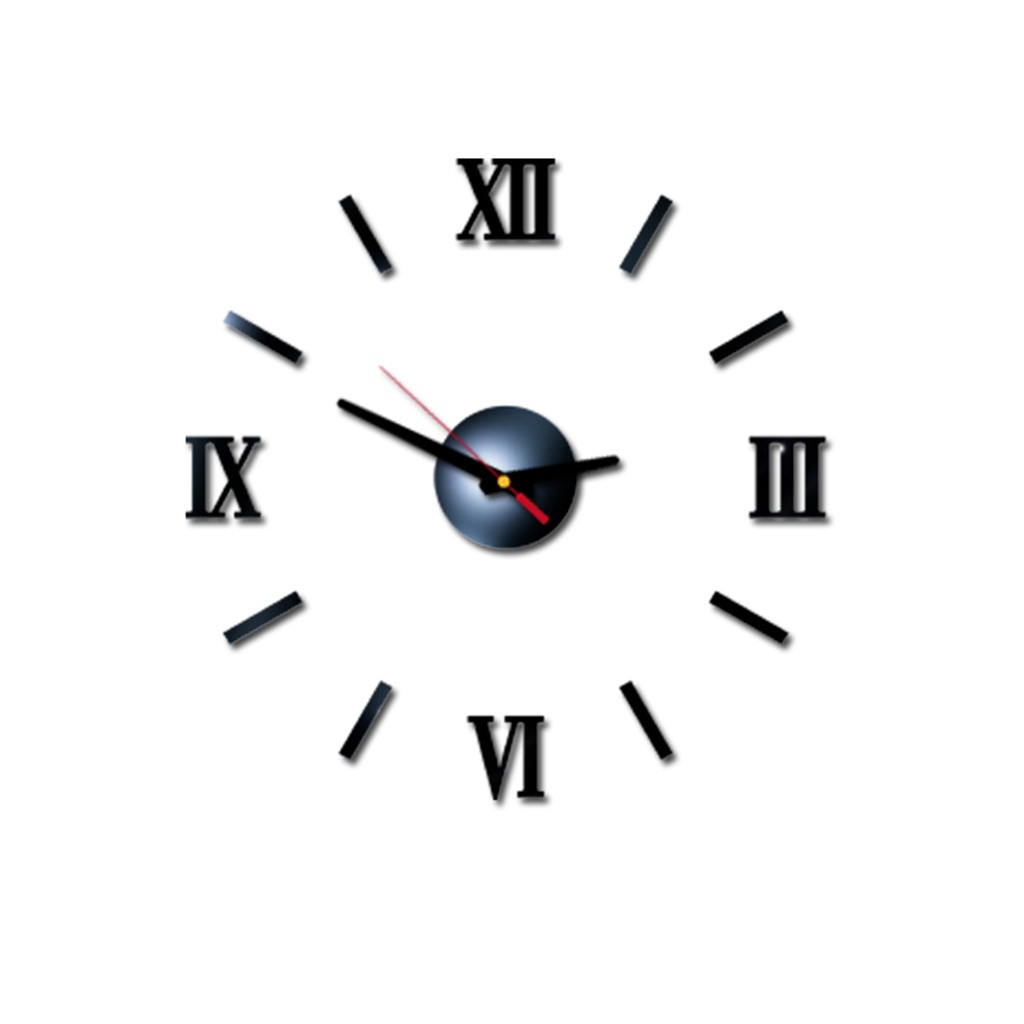 Wall Sticker Clock 3D DIY Roman Numbers Acrylic Mirror Home Decor Mural Decals 3d wall clock for living room adhesive 19JUL23|Wall Clocks| |  - title=