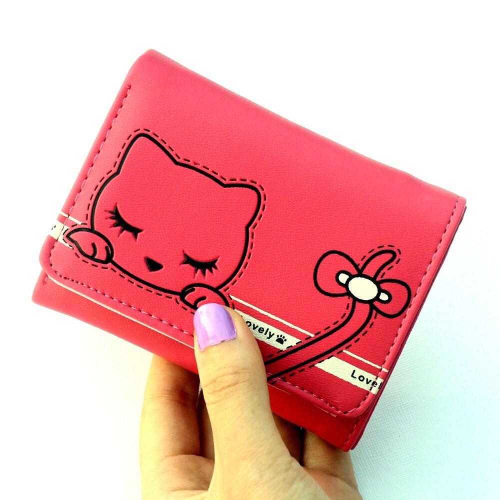 New Cute Prints Cat wallets,Lady Short purse,Female Hasp 3 fold wallet Women purse coin zipper money BAG card holder цена