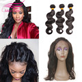2017 preplucked frontal brazilian virgin hair with closure 360 lace frontal with bundle with baby hair 8a body hair with closure
