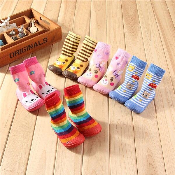 1 Pair Boys Girls Warm Cute Thick Non-slip Terry Socks Floor Sock Shark Printed